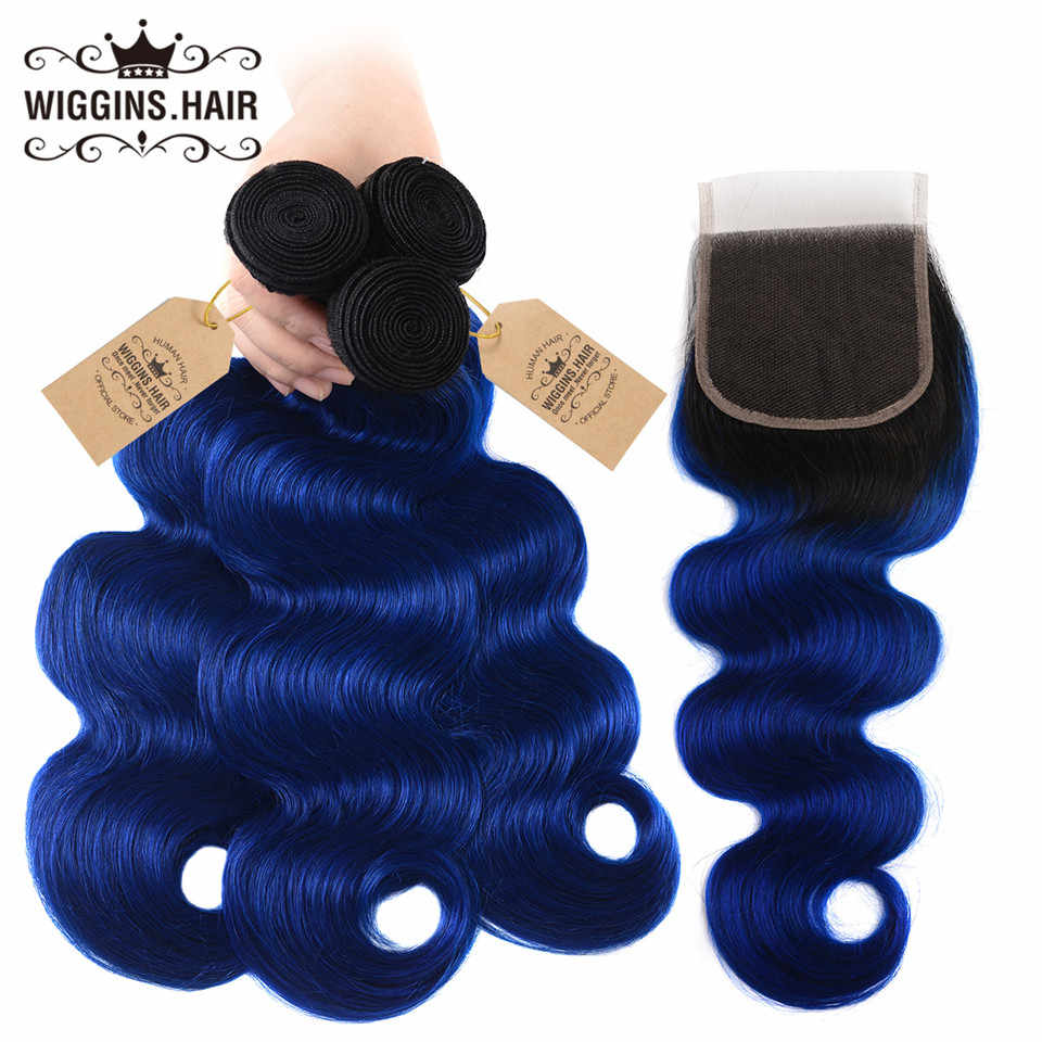 Wiggins Hair 1B/Blue Ombre Bundles With Closure Brazilian Human Hair Weave Body Wave 3 Bundles With Closure Remy Hair Extensions