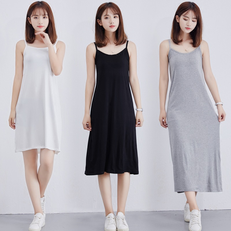 Women's Modal Full Slip Dress Spaghetti Strap Vest Skirt 90 To 120cm Long Under Dress Camisoles Slips Inner Petticoat
