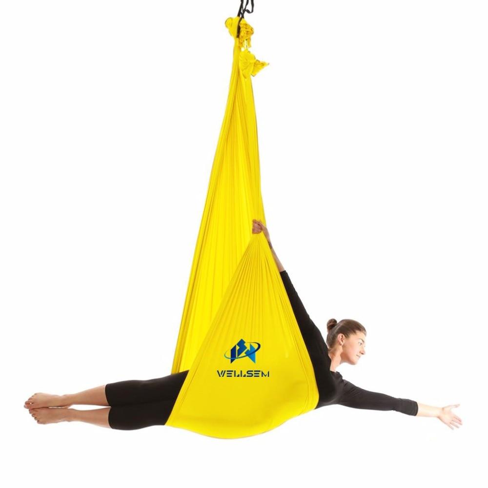 Высочайшее качество yoga летающие качели антигравитации Йога-Гамак Ткань воздушная тяговым устройством Фитнес для yoga ДЛЯ yoga стадион (5x2,8 м