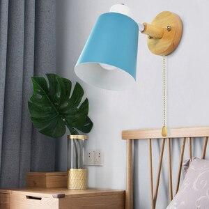Image 2 - Holz wand lichter nacht wand lampe mit schalter moderne wand ligh Nordic macaron wandlampen schlafzimmer restaurant wohnzimmer lenkung