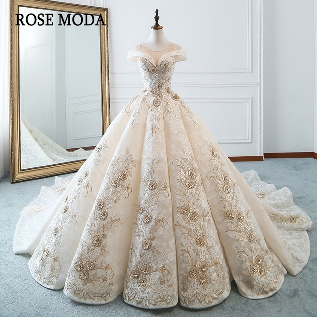Us 4590 Rose Moda Vintage Lace Wedding Dress 2018 With Beads Off Shoulder Gold Wedding Dresses Long Train In Wedding Dresses From Weddings Events