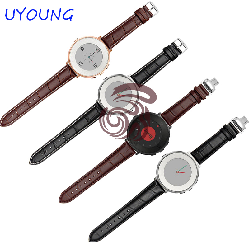Quality Genuine Leather Watchband 20mm For Pebble Time Round Smart Watch Strap Fine Steel Buckle