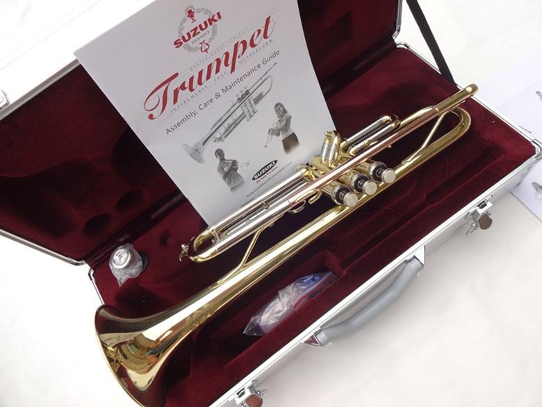 Suzuki Professional Trumpet Gold Lacquer and Silver Plated Brass Instruments Phosphorus&Bb Trumpet musical instruments Trompeta кастрюля supra sad s282c