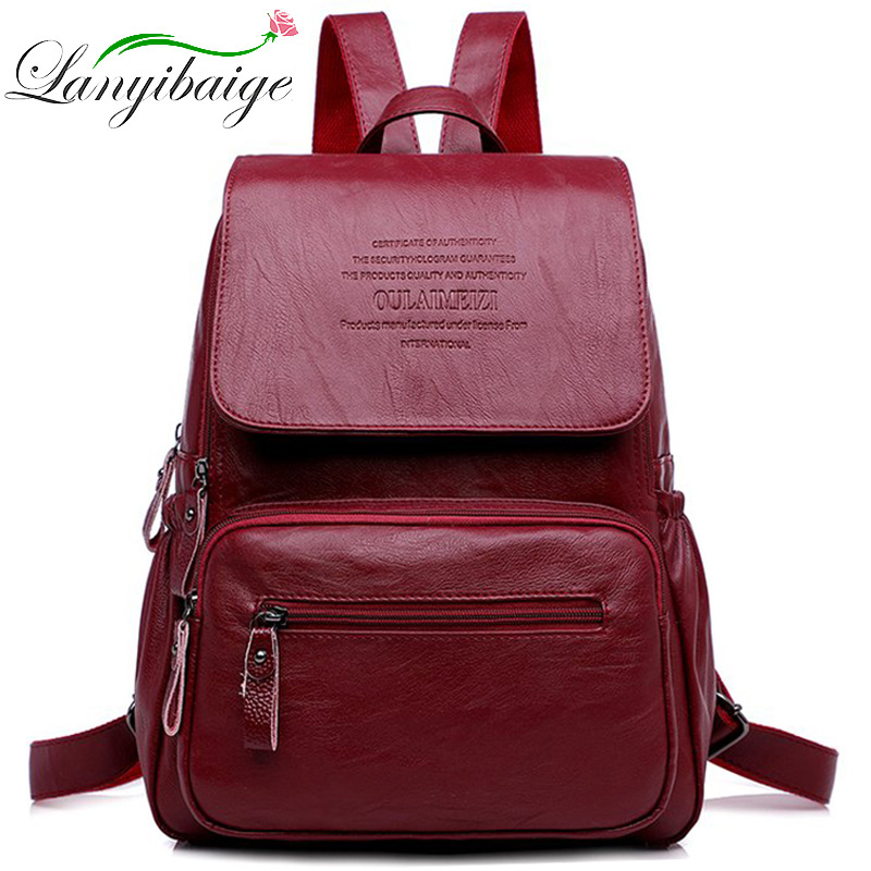 2019 Women Leather Backpacks High Quality Ladies Bagpack Luxury Designer Large Capacity Casual Daypack Sac A Dos Girl MochilasBackpacks   -