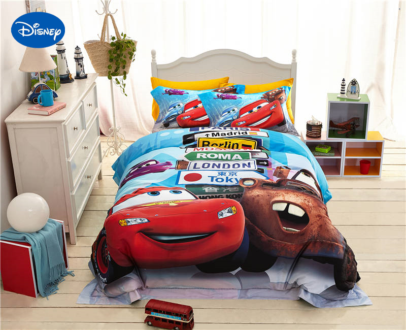 Disney Cartoon Lightning McQueen Cars Print Bedding For Boys Bedroom Decor  Silk Satin Bed Cover Sheet