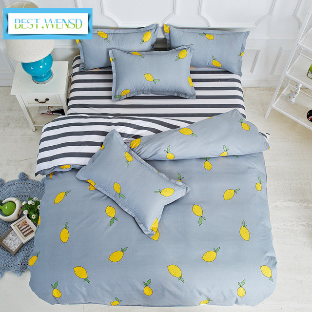 Best Wensd Luxury Bedding Sets Fruits Stripes Good Quality Soft Duvet Cover Pillowcase King Queen Full Twin Size 3 4 Pcs