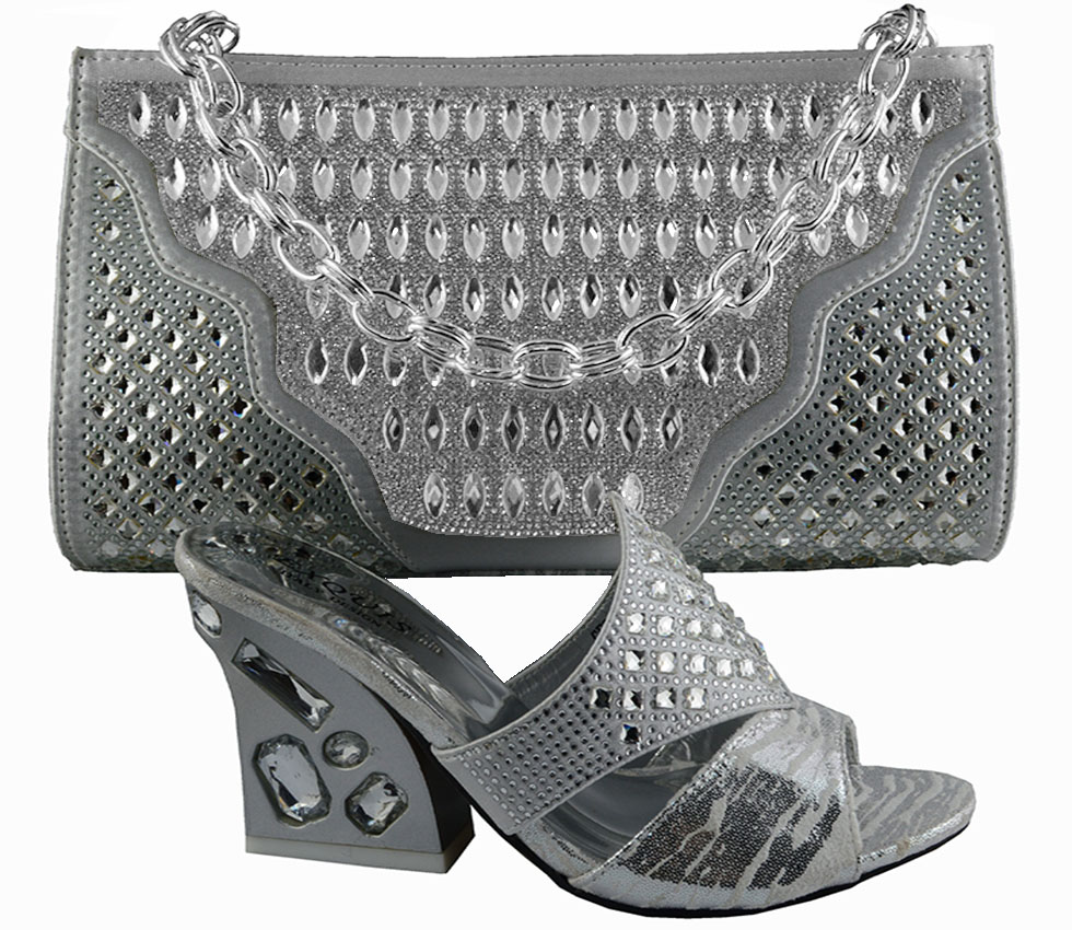Luxury African Shoes And Handbag Sets Italian Design Lady Sandal Bag With Stones Gf52 Heel Height 9cm Silver In Women S Pumps From On