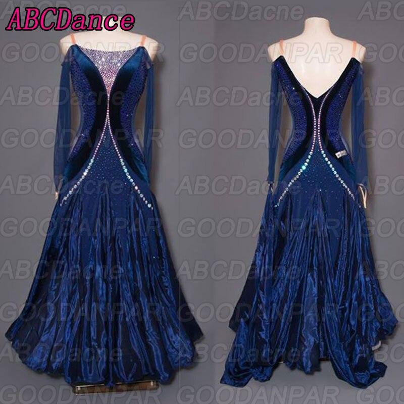 ballroom dance competition dresses Long sleeved dark blue dresses for ballroom dancing sexy standard ballroom dress