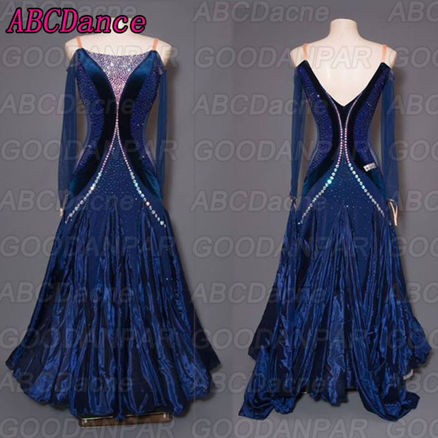 ballroom dance competition dresses Long sleeved dark blue dresses for ballroom dancing sexy standard ballroom dress