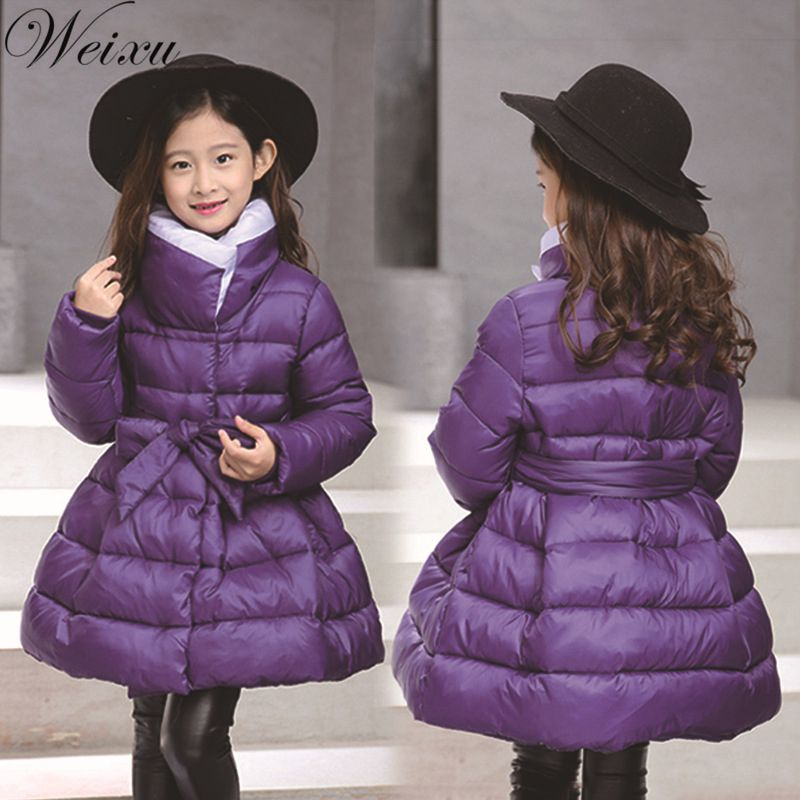 Winter Jackets for Girls bow Waistband coats Russia Kid Thick Warm Princess Jacket Children Girl Outwear Long Parka Coat Clothes 12m 6y baby girl clothes zipper winter jacket girl coats cotton padded warm kid parka thick girls jackets children down outwear