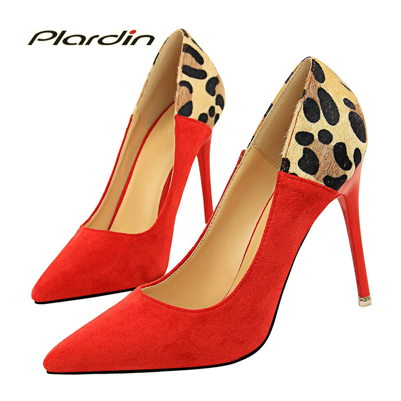 plardin 2018 Four seasons woman shoes high heel with shallow mouth pointed sexy thin suede color matching leopard women Pumps 2017 shoes woman fashion sweet bowtie pointed toe sexy women party shallow mouth side hollow women thin high heel shoes