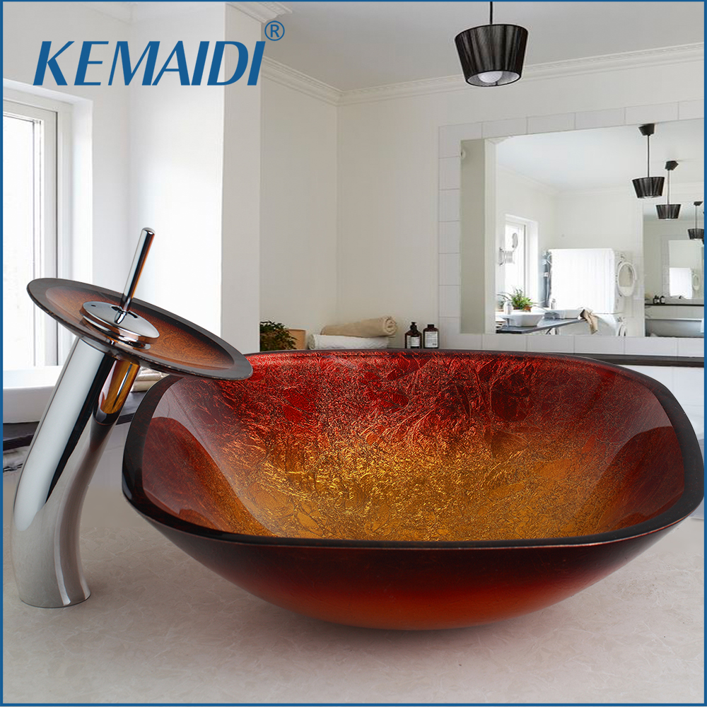 Bathroom Sinks Red Hand Painting Tempered Glass Bathroom Sink Bowl With Mixer Faucet Tap Set Home Garden