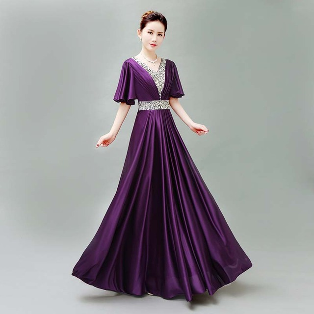 5728594d108b6 US $48.9 |specials elegante formale embellished modest evening gowns dress  ladies dinner long dresses celebrities deep purple D3941-in Evening Dresses  ...