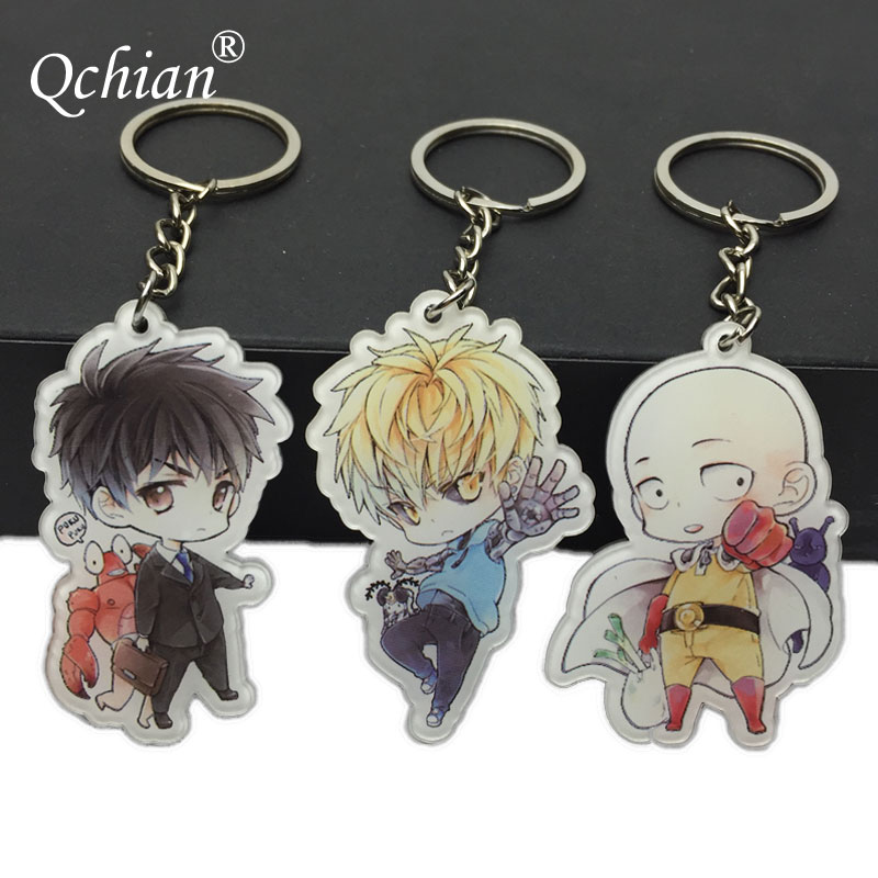 2018 One Punch Man Keychain for Men Saitama Genos tatsumaki cute Key Chains Ring Holder Acrylic Hot Sale