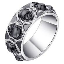 Новейший дизайн мужское кольцо с черным черепом женское родиевым
