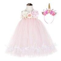 Cute Flower Girls Wedding Unicorn Baby Clothes Teenage Sleeveless Lol Dress for Girl Pink Tulle Lace Bowknot Tutu Dress Vestido