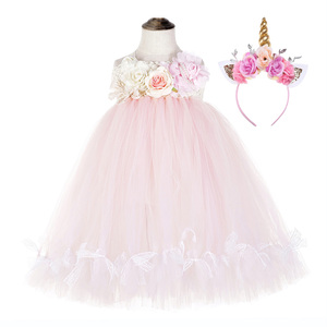 Image 1 - かわいい花の女の子の結婚式ユニコーンベビー服十代ノースリーブ笑ドレスピンクのためのチュールレースちょうチュチュドレスvestido