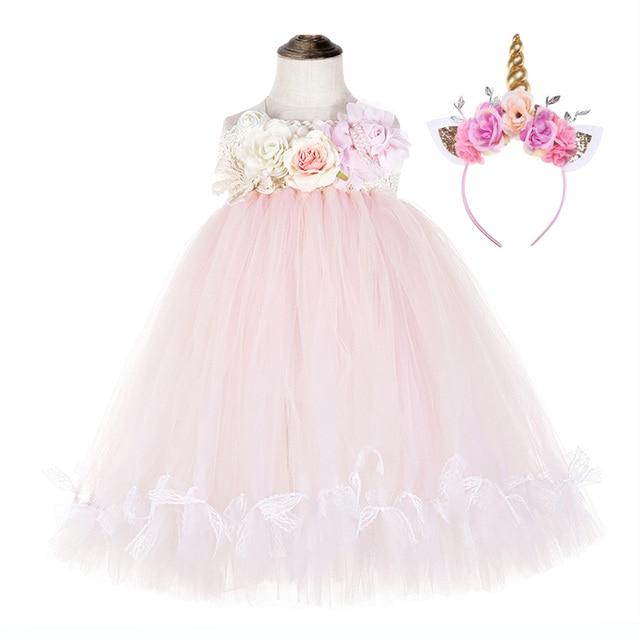 かわいい花の女の子の結婚式ユニコーンベビー服十代ノースリーブ笑ドレスピンクのためのチュールレースちょうチュチュドレスvestido