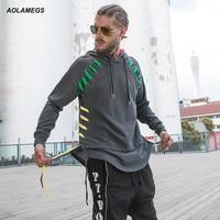 Aolamegs Men Hoodies Sweatshirts High Street Colored Ribbon Design Hoody Pullover Couples Hip Hop Fashion Streetwear