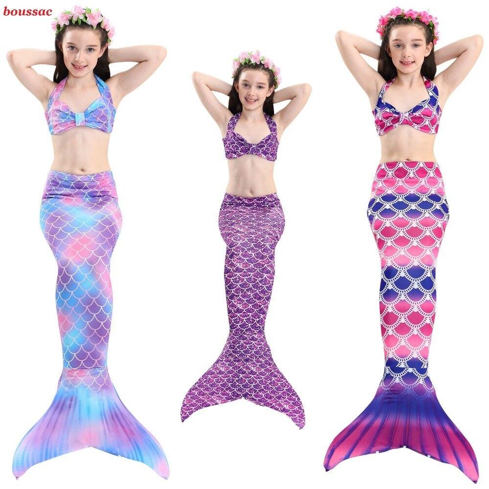 2019 Hot Mermaid Tails Costumes for Girls Bikini Swimming Costume with Fin Tail Mermaid Cosplay Swimsuit Kids Children Swimmable
