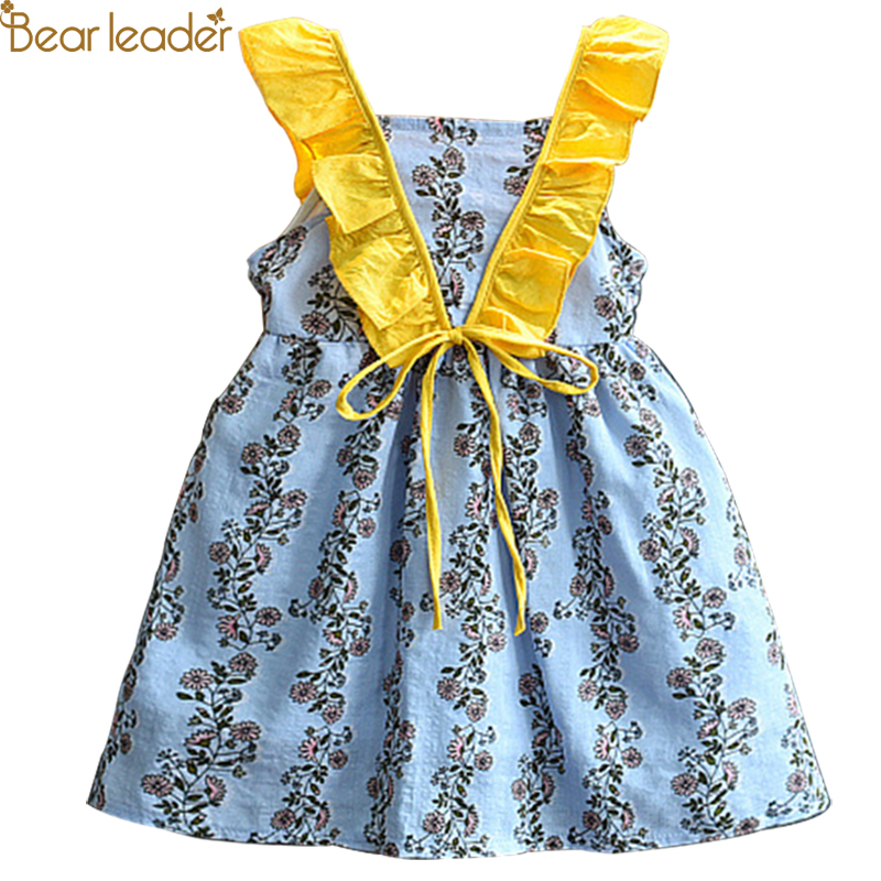 Bear Leader Girls Dresses 2018 Summer New Style Girls Fashion Retro Floral Floral Hit color Flying sleeves Waist Dress For 3-7 Y flutter sleeve elastic waist floral dress