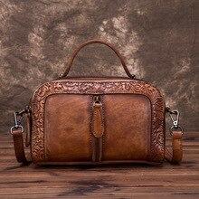 عالية الجودة جلد طبيعي المرأة جلد البقر أعلى حقائب بيد كرمة تنقش حقيبة يد خمر Crossbody الكتف حقيبة ساعي