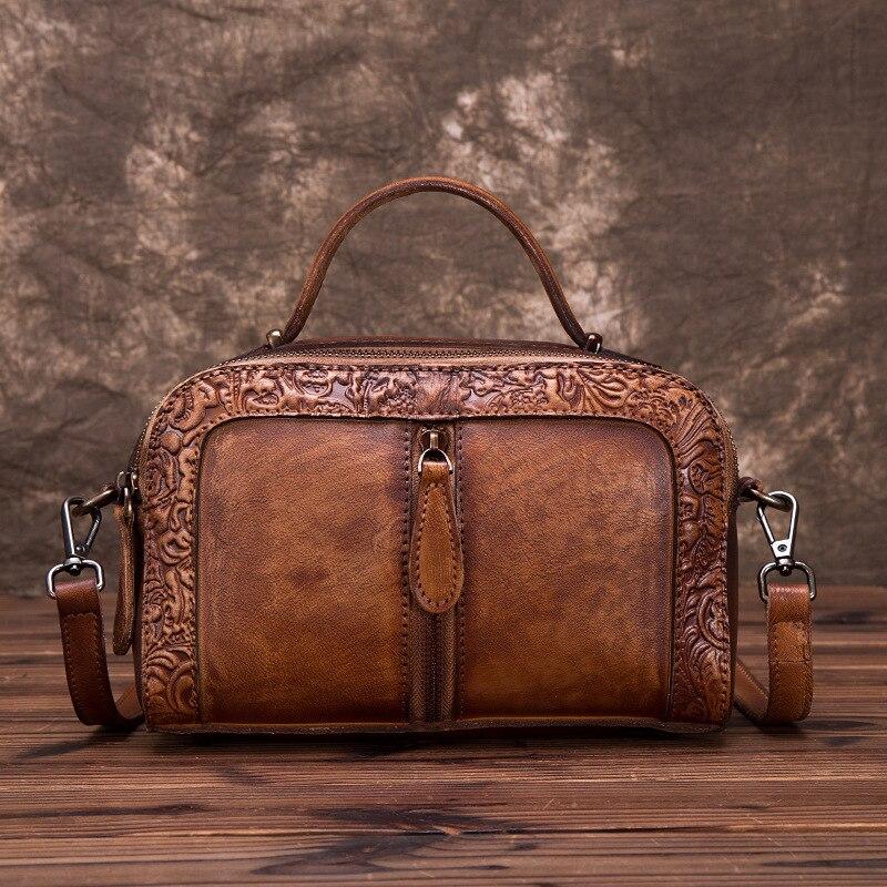High Quality Genuine Leather Women Cowhide Top Handle Bags Vine Embossed Tote Handbag Vintage Crossbody Shoulder Messenger Bag-in Top-Handle Bags from Luggage & Bags    1