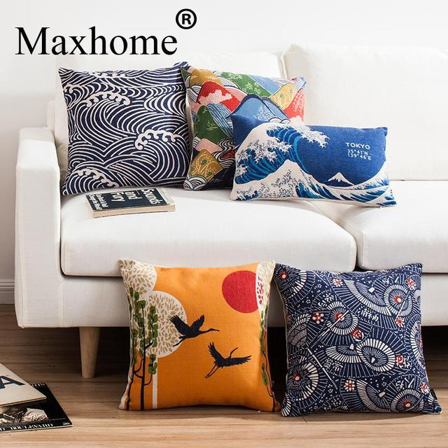Japanese Ukiyo Style Retro pillowcase Fuji Mountain Cushion  Decorative Pillows For Sofa Home Decor Throw Pillow 45*45