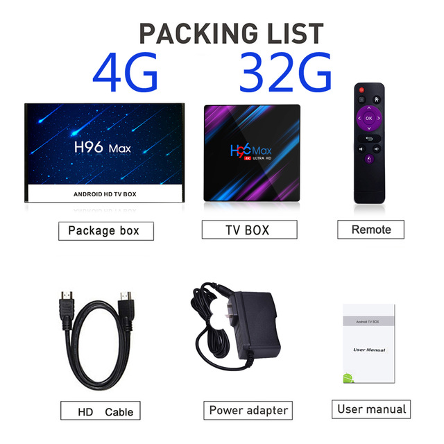 H96 Max Box Android 9 0 Rockchip RK3318 4K Smart TV Box 2 4