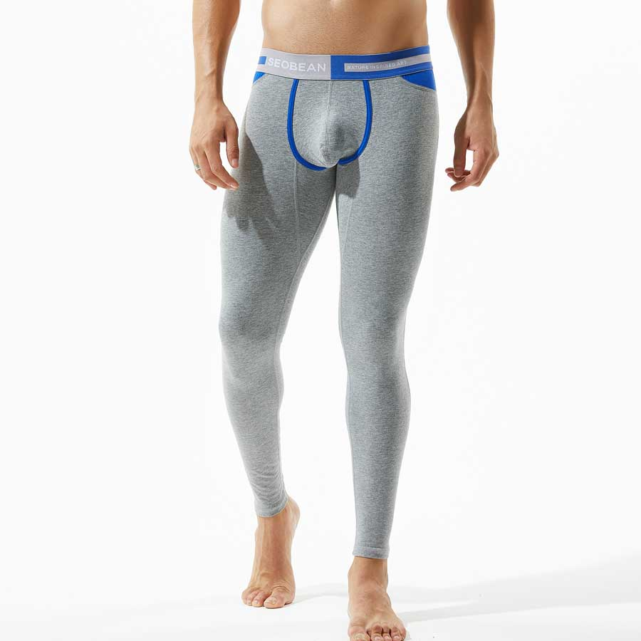 Men Long Johns Cotton Winter Thermal Underwear Solid Color -7094