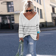 RPNNYKISE Striped Knitted Sweaters Women Fashion Long Sleeve Loose Pullovers Autumn Winter Casual Sweaters Sexy Tops for Women uzzdss women autumn winter sexy dress short sleeve party skinny knitted striped warm sweaters dresses casual women clothing