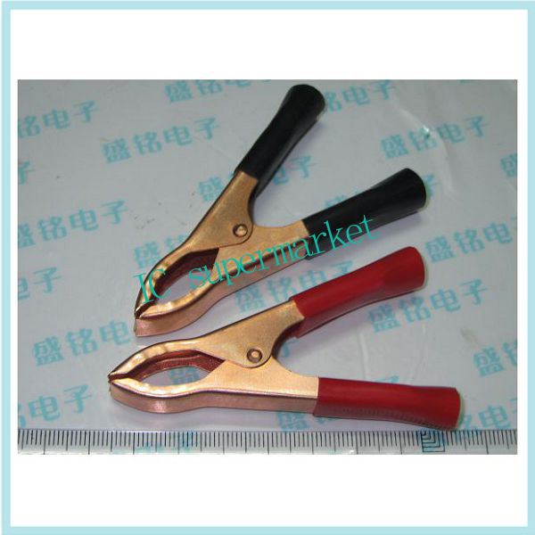 30 a crocodile clip plated copper red and black pair for