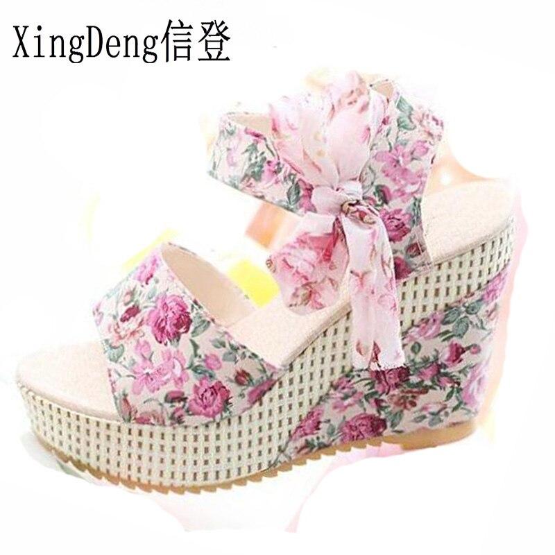 Frauen Schuhe Hell Xingdeng Mode Frauen Keil Plattform Floral Printed Sandalen Damen Bowtie Süße High Heels Peep Toe Sandalen Größe 35-39 HüBsch Und Bunt Schuhe