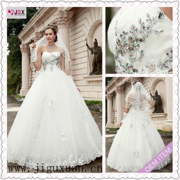 0280 1hs 2012 White Beaded Ball Gown Strapless Lace japanese style ...