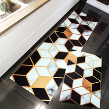European style Geometric diamond Kitchen PVC leather mat Black and white grid Strip carpet non-slip door mat ins leather rug
