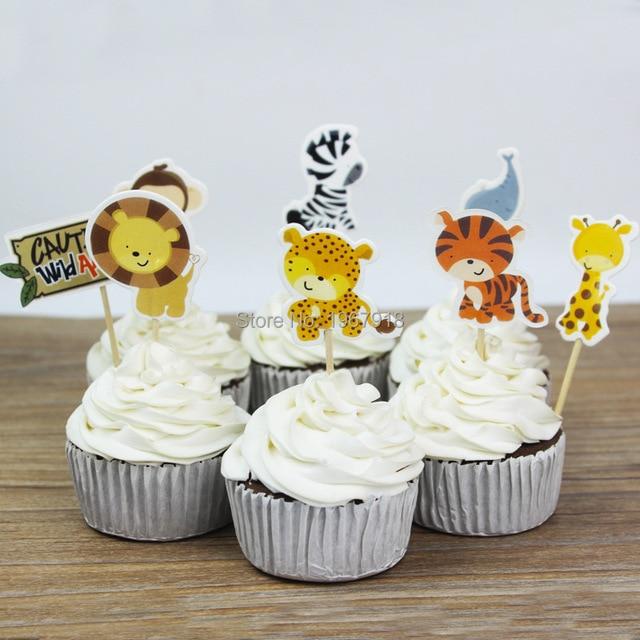 24pcs Animal Zoo Designs Animals Cupcake Toppers Picks Cartoon Theme