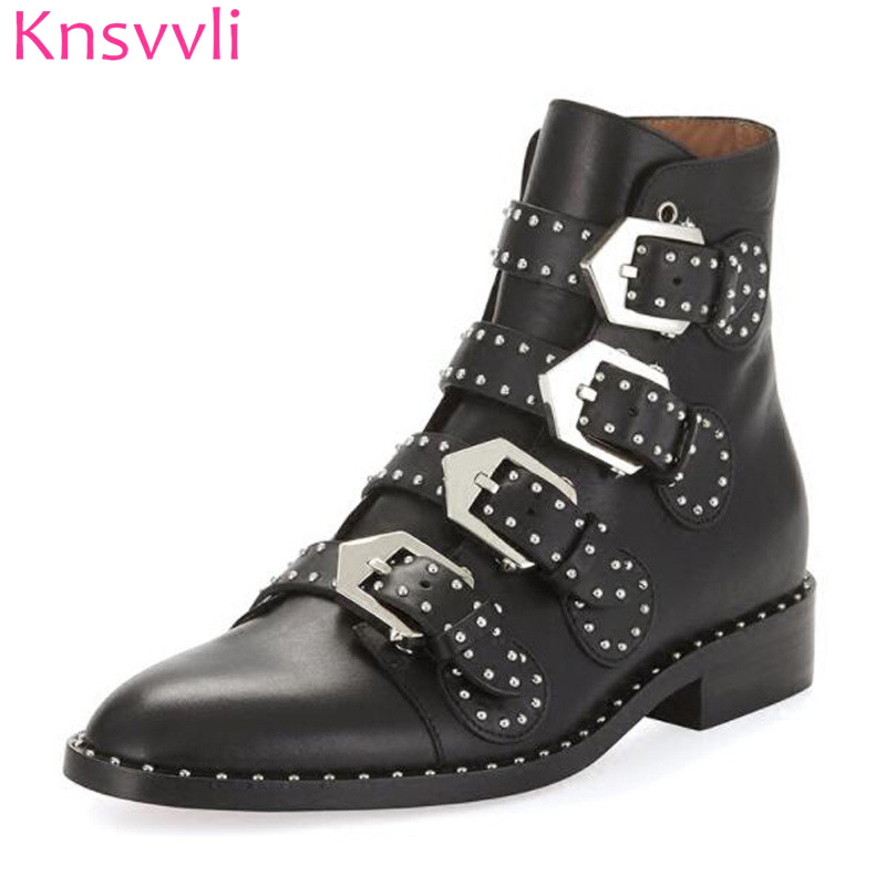 Здесь можно купить  Knsvvli Round Toe Metal Buckle Studded Ankle Boots Women Flat Genuine Leather Winter Shoes Ladies Gladiator Motorcycle Boots  Обувь