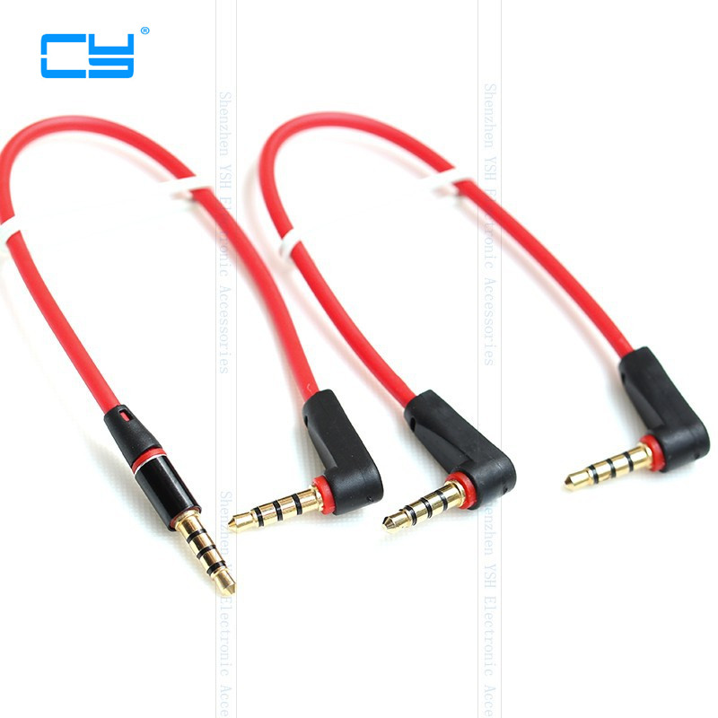 Universal 90 Degree Elbow Audio Cable For  Ipod Aux 4 Pole Right Angle 3.5mm Male To Male Ipod Aux Audio Aux Stereo Cable 20cm