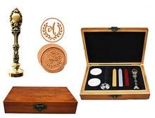 Vintage Monogram Letters Custom Luxury Wax Seal Sealing Stamp Brass Peacock Metal Handle Sticks Melting Spoon Wood Gift Box Set
