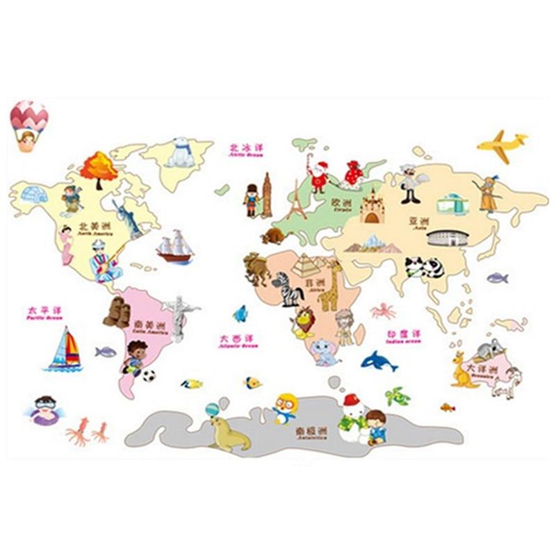 Travel round the world map children puzzle 3d pvc wall for Mapa del mundo decoracion