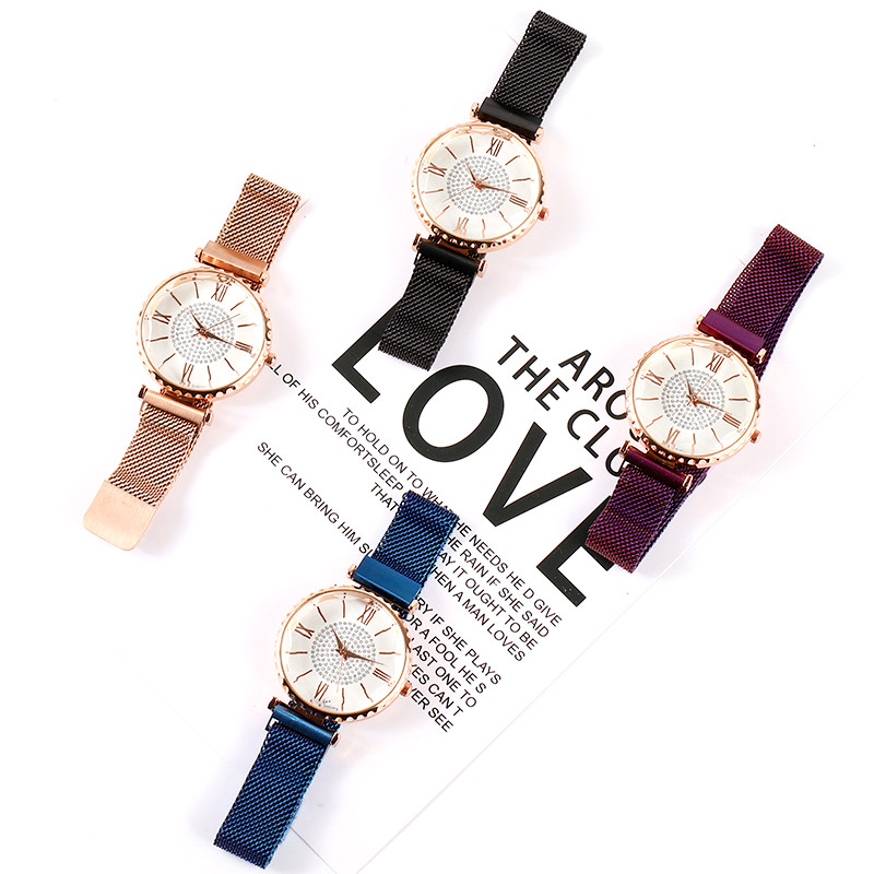 2019 New Charming Rose Gold Women Watches Minimalism Casual Rhinestone Lady Wristwatch Magnet Buckle Fashion Luxury Brand Watch