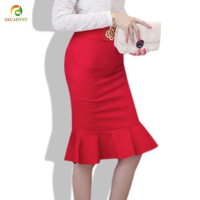 dd696ed759 Women Knee Length Mermaid Skirt High Waist Slim Long Pencil Skirt Red Black  Bodycon Knitted Skirt Saia Midi Feminina Size S-5XL