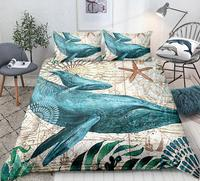 Whale Bedding Set Queen Home Textile Pillow Cases Ocean Animal Couple Duvet Cover Set King Starfish Aquatic Quilt Cover