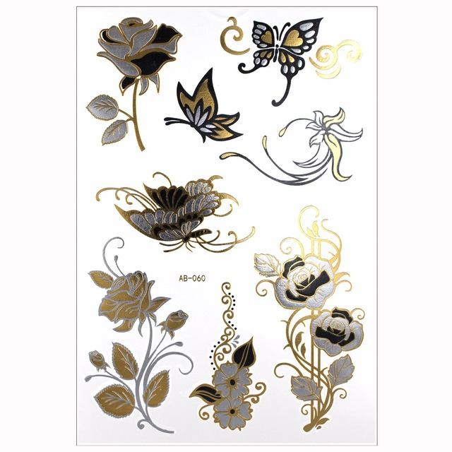 Style Body Art Temporay Tattoo Flowers Butterflies Flash Metallic