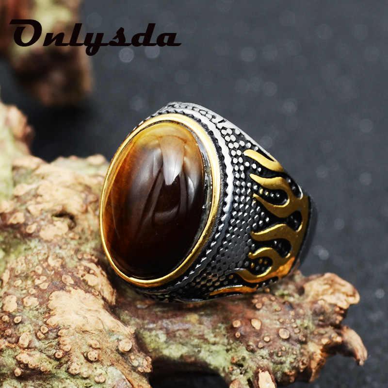 Onlysda רטרו עתיקות מזרח התיכון ערבית סגנון אבן titanium פלדת טבעת תכשיטי לגברים מסיבת מתנות Drop חינם OSR110
