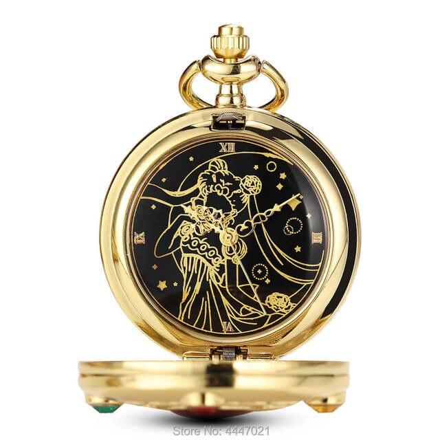 7a00b9249170 Anime Sailor Moon reloj de bolsillo cadenas niñas Vintage cuarzo relojes de bolsillo  para mujer para