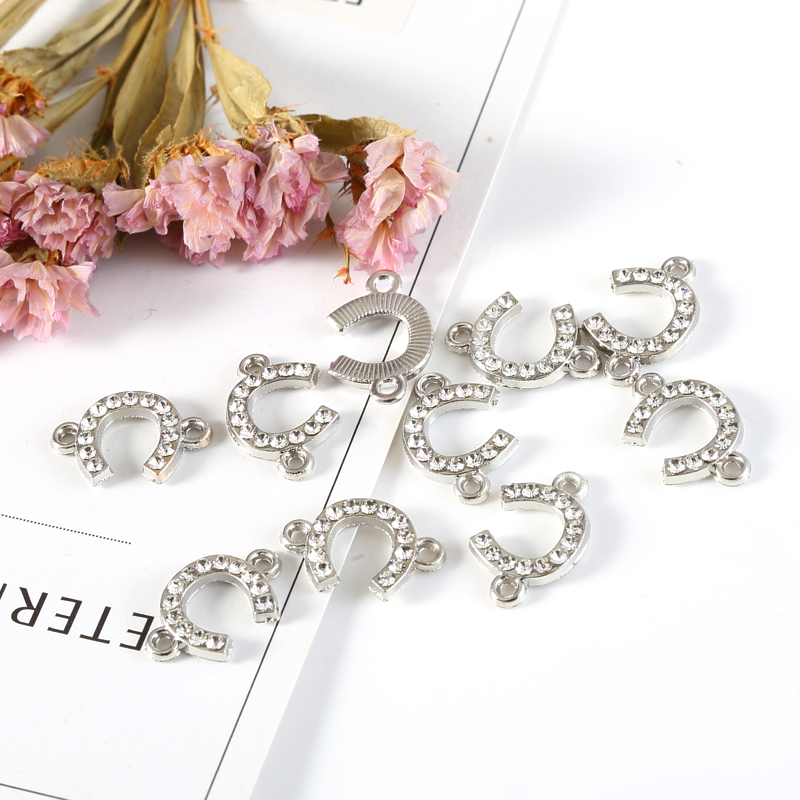 10pcs Inlay Rhinestone Infinite Symbol Charms Pendant Connector Jewelry Findings