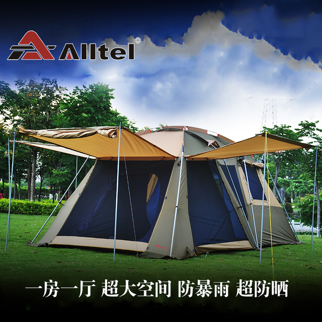 Cheap Ultralarge 3-4 people one hall one bedroom double layer very waterproof outdoor camping tent