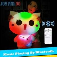Luminous Stuffed LED Light Up Plush Glow Bunny Pillow Toy Auto 7 Color Rotation Illuminated Music Playing By Bluetooth