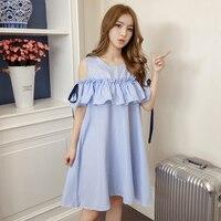 2018 Summer Women dress Sleeveless Idlf Flax Blended A Font Dresses Dark Blue Sapphire 3228B